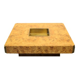 1970's Italian Willy Rizzo Burl Wood and Brass Coffee Table.