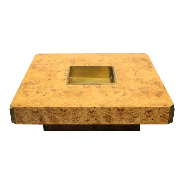 1970's Italian Willy Rizzo Burl Wood and Brass Coffee Table. For Sale