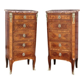 Louis XV Style Tulipwood Petit Commodes - a Pair For Sale