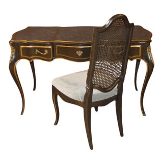 1970s Vintage Drexel French Style Brass Accent Writing Desk and Chair