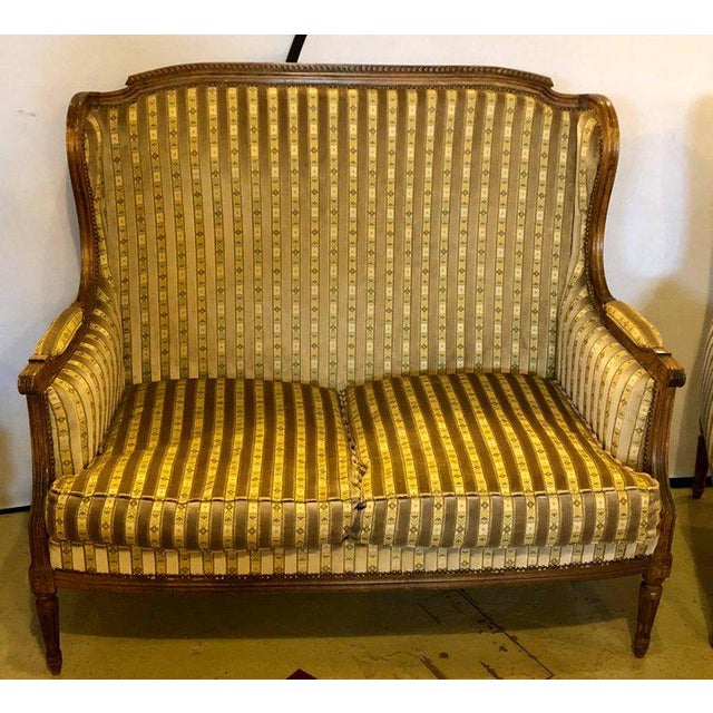 Louis XVI Living Room Suite Couch and Two Lounge Chairs For Sale - Image 12 of 14