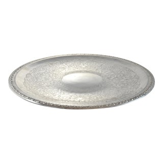 """Oversize 18"""" Chased Silver Tray"""