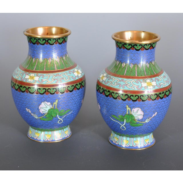 Vintage Chinese Cloissone Vases - A Pair For Sale - Image 4 of 7