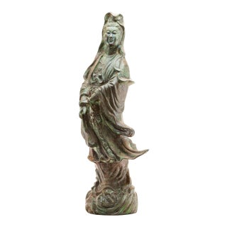 Late 20th Vintage Century Lawrence & Scott Verdigris Bronze Figure of Guan Yin For Sale