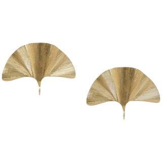 Set of 2 Huge Ginkgo Leaf Brass Wall Lights or Sconces in the Manner of Tommaso Barbi For Sale
