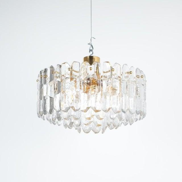 j.t. Kalmar Palazzo Chandelier Gold Brass Glass Lamp, Austria 1960 For Sale - Image 6 of 12