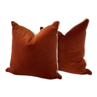 Orange Velvet Pillows With Soft White Linen Back & White Flange- a Pair For Sale