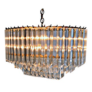 Oval Three Stories Lucite Chandelier For Sale