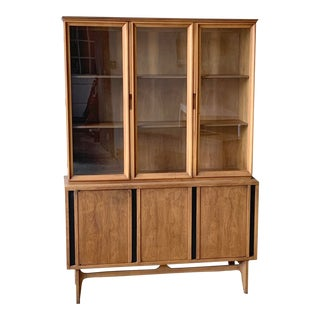 Mid-Century Walnut China Hutch For Sale