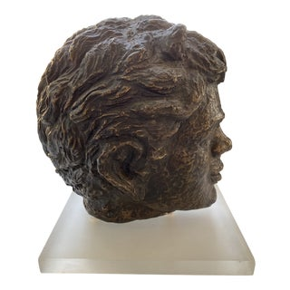 Mid-Century Bronze Bust of Pan on Lucite Stand For Sale