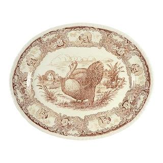 "1940s Staffordshire 20"" Transferware Turkey Platter For Sale"