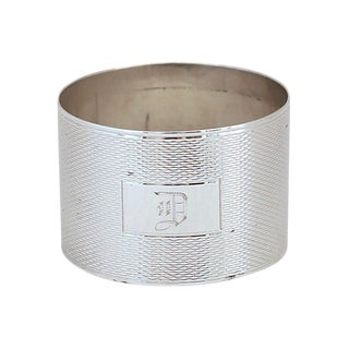 """English Sterling Silver """"D"""" Napkin Ring For Sale"""
