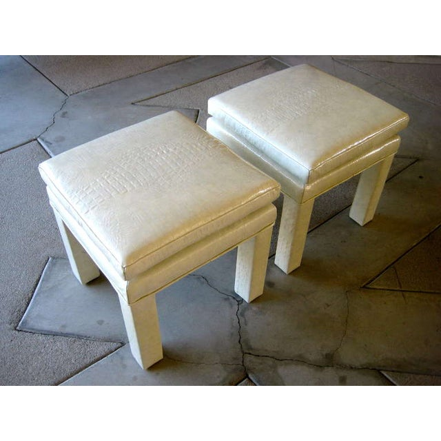 Croc Cream Leather Parson Style Stools - A Pair - Image 3 of 6