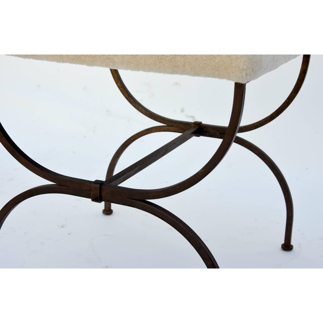 Animal Skin Exceptional Wrought Iron and Sheepskin Side Chair by Gilbert Poillerat For Sale - Image 7 of 10