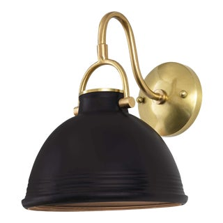 Eloise Ceramic Sconce in Black For Sale