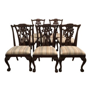 21st Century Vintage Ethan Allen Mahogany Chippendale Dining Chairs- Set of 8 For Sale