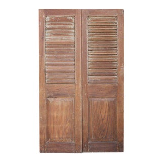 Anglo Indian Teak Slatted Doors For Sale