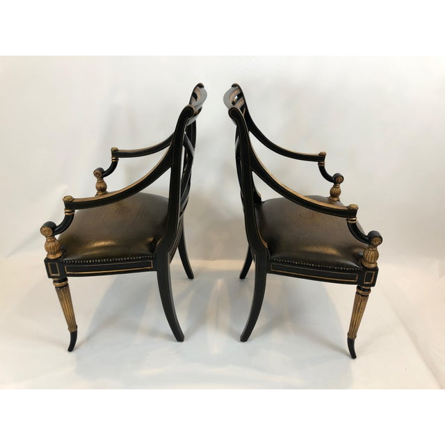 Regency Black and Gilded Armchairs With Leather Seats - a Pair For Sale - Image 10 of 13