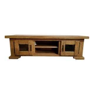 Italian Solid Oak Storage Cabinet / Tv Stand For Sale