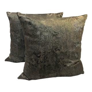 Boho Chic Style Gray Velvet Pillows - a Pair For Sale