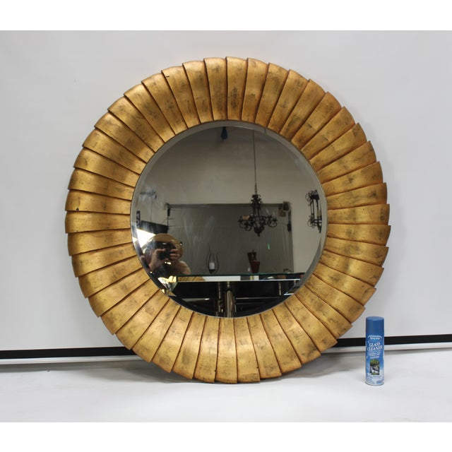 Contemporary Mid-Century Style Large Contemporary Round Gold Mirror For Sale - Image 3 of 6