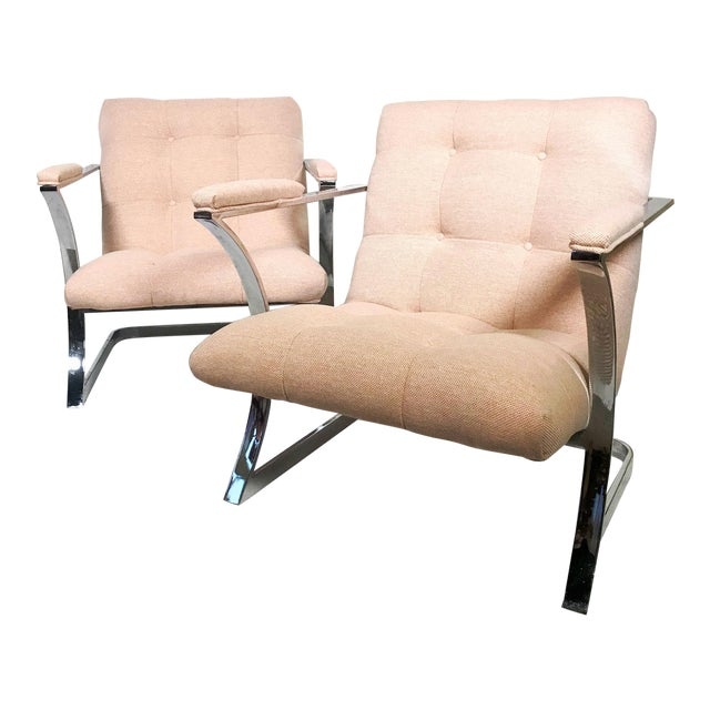 1970s Vintage Milo Baughman for Carson's Cubist Floating Sling Chairs- A Pair For Sale