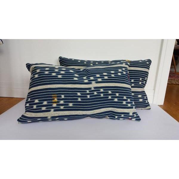 Vintage African Indigo Mudcloth Lumbar Pillow - Image 4 of 5