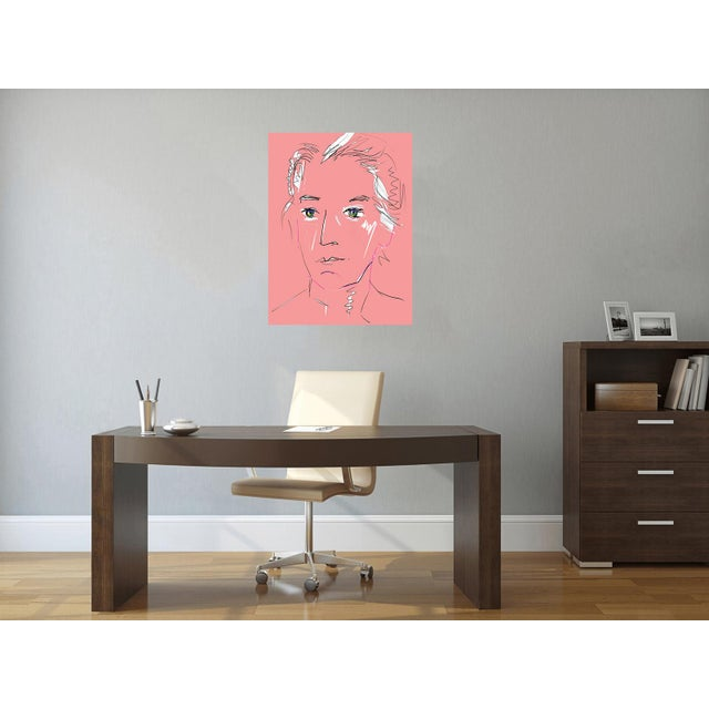 """Pink """"Pink Lady"""" by Trixie Pitts Original Print on Heavy Paper For Sale - Image 8 of 13"""