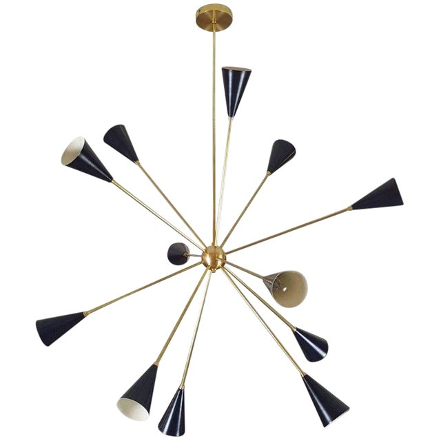 """Sculptural Brass and Enamel """"Spore"""" Chandelier by Blueprint Lighting, 2017 For Sale"""