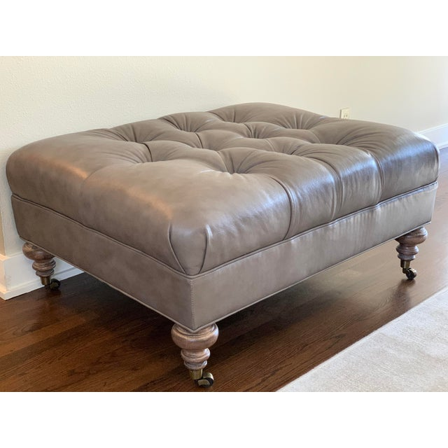 "Thomasville Leather ""Regatta"" Ottoman For Sale - Image 11 of 11"