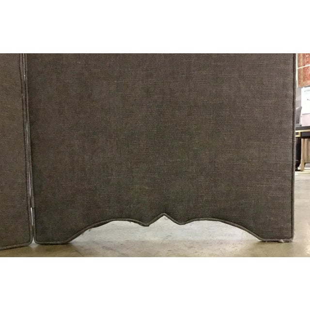 Traditional Transitional Gray Linen Blend Upholstered Screen/Room Divider For Sale - Image 3 of 5