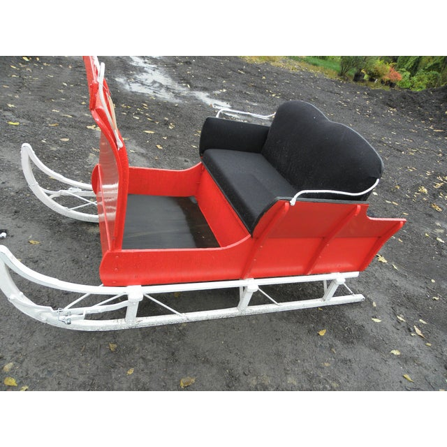 Equestrian Antique Restored Red Holiday Sleigh Sled - Image 8 of 11