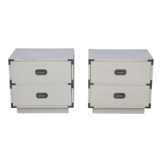 Mid-Century White Lacquer and Chrome Campaign Nightstands- A Pair