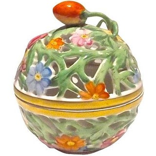 Herend Porcelain Floral Bonbonniere For Sale