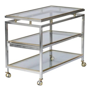 Mid Century Chrome Brass and Glass Serving Trolley in Style of Maison Jansen