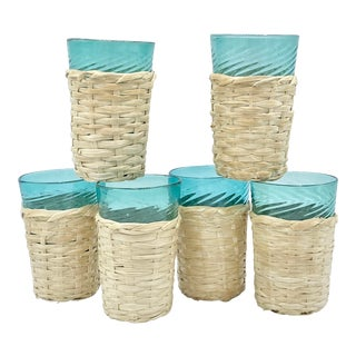 Vintage Basket Wrapped Turquoise Highball Glasses Set of 6 For Sale