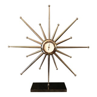 1960s Mid Century Starburst Table Clock For Sale