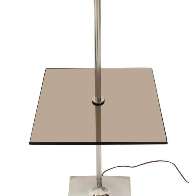 Mid-Century Modern Smoked Glass Table Floor Lamp by Laurel For Sale - Image 3 of 6