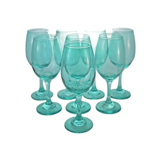 Aqua Stemmed Goblets - Set of 8