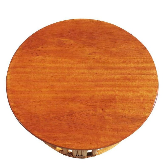 Restored Round Rattan Coffee Table With Mahogany Top and Fancy Wrapping - Image 5 of 5