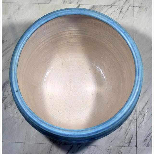 1960s Mid-Century Modern Large Blue Glazed Ceramic Pot Signed j.t. Abernathy For Sale In Detroit - Image 6 of 8