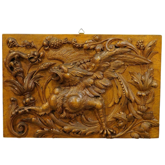 Wooden Carved Panel With Gargoyle and Lizard, Germany Ca. 1920 For Sale