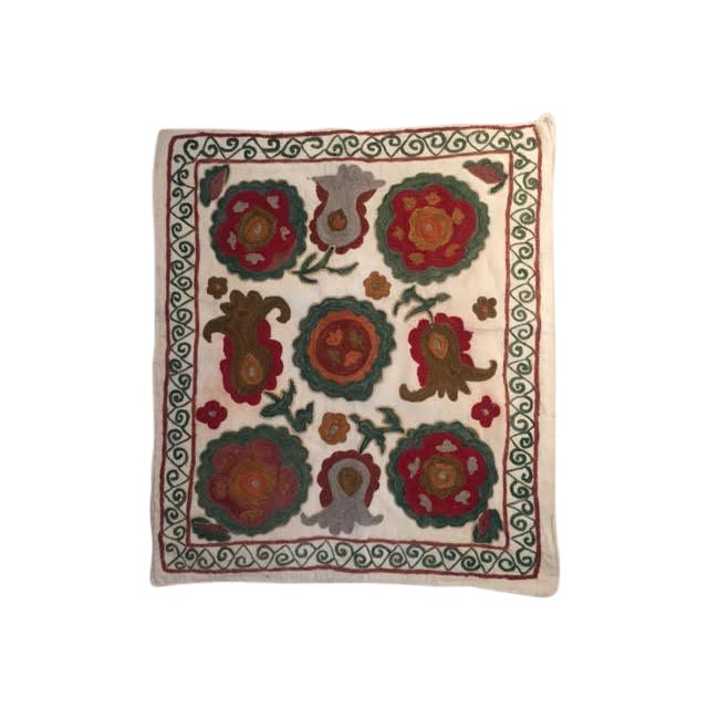 Vintage Turkish Embroidered Throw Pillow Case - Image 1 of 3