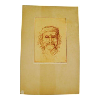 "Bruce H. Eastman Pencil Signed ""Navajo Medicine Man"" Native American Print For Sale"