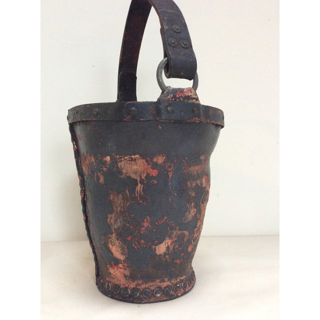 Antique Leather Coat of Arms Fire Bucket - Image 4 of 9