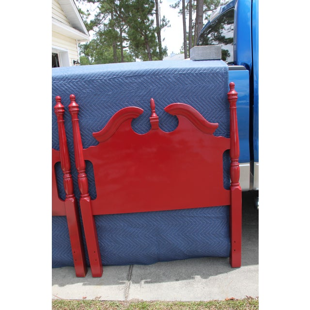 Hollywood Regency Georgian Gloss Red Twin Headboards - a Pair For Sale - Image 6 of 7