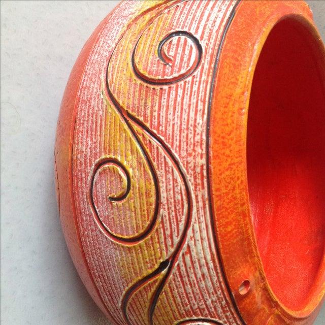 Vintage Orange Ceramic Hanging Planter - Image 6 of 9