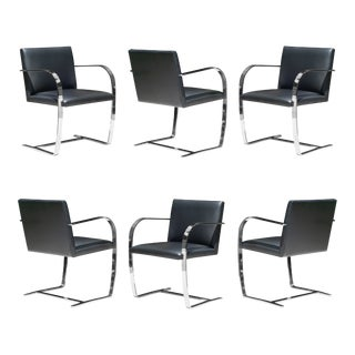 Brno Flat-Bar Chairs in Black Leather & Chrome by Ludwig Mies Van Der Rohe for Knoll - Set of 6 For Sale