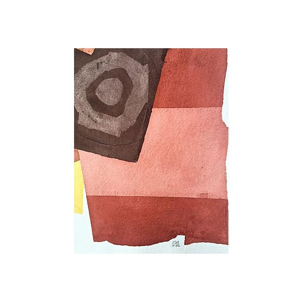 1980s Watercolor Abstract by Roger Stokes For Sale - Image 5 of 5