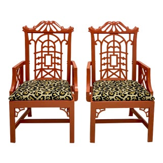 Mid 20th Century Chinoiserie Pagoda Arm Chairs in Leopard - a Pair For Sale